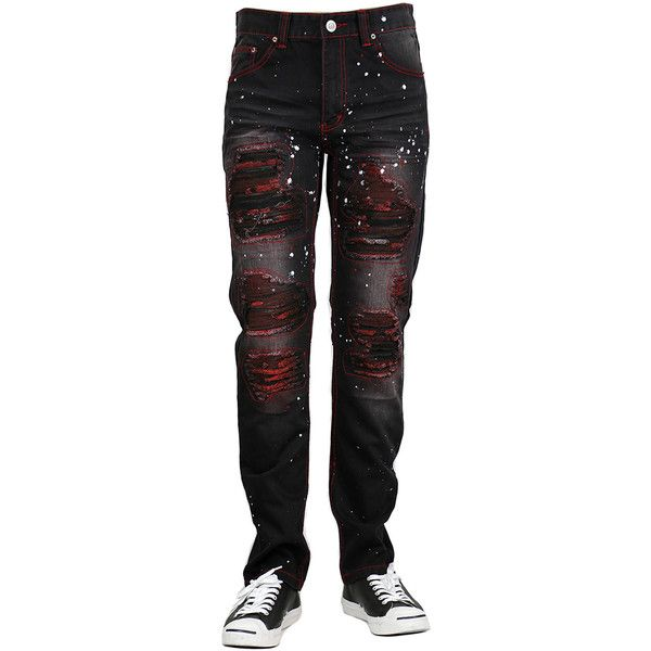 Bleu Evolution PAINT SPLATTERED RIPPED DENIM JEANS ($58) ❤ liked on Polyvore featuring men's fashion, men's clothing, men's jeans, men, bottoms, pants, mens slim fit jeans, mens ripped jeans, mens destroyed jeans and mens distressed jeans