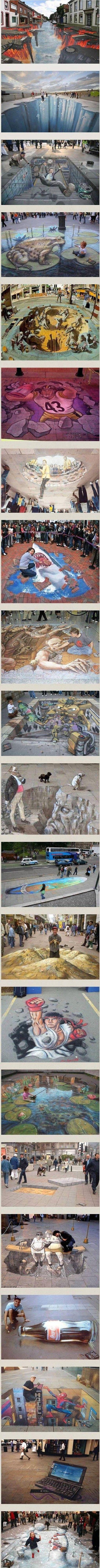 een zeer realistisch schilderij op een straat. Het lijkt echt als of je in een afgrond of andere dimensie stapt, echt zeer mooi gemaakt