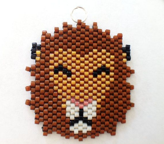 Lion Beaded Necklace Pendant. by DreamingFey on Etsy