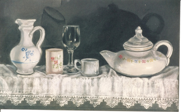 Pilar S. Robles. Porcelanas y cristal. Pastel. 67x48 Love the shadow play...I have another one of hers. I'm sure it's in Art one....more of the shadow play.