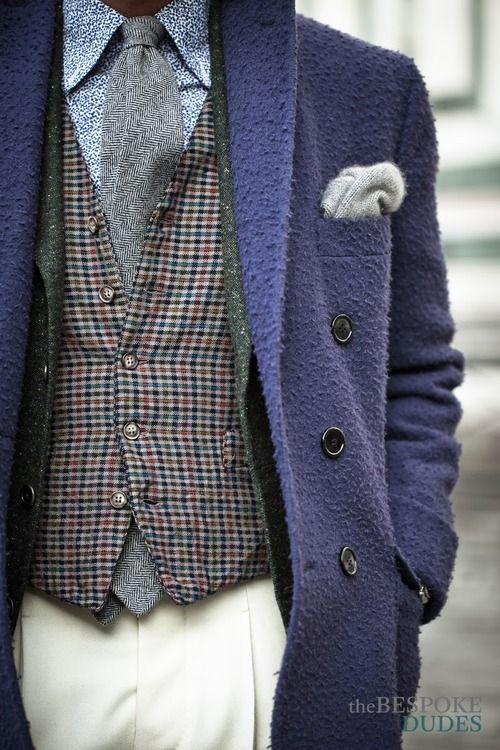 Pitti Uomo 85 (2014). Fabio Attanasio -Bespoke Casentino Coat // Bespoke blazer by Fabio Sodano // Eral55 Vest // Bespoke trousers by Salva...