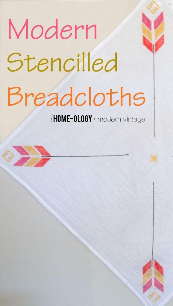 Handmade stencilled breadcloths   {Home-ology} modern vintage