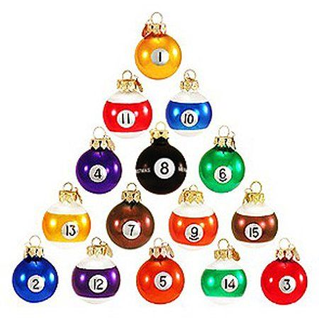 Buy Set of 15 Colorful Glass Pool Ball Christmas O…
