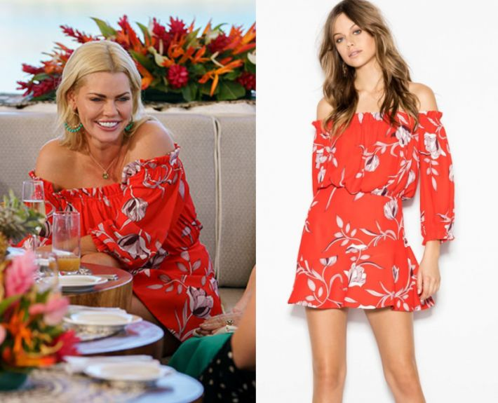 3x12 Sophie Monk wears this red floral printed off shoulder mini dress in this episode of The Bachelorette on Thursday October 26th, 2017. It is the Sheike Panama Dress.