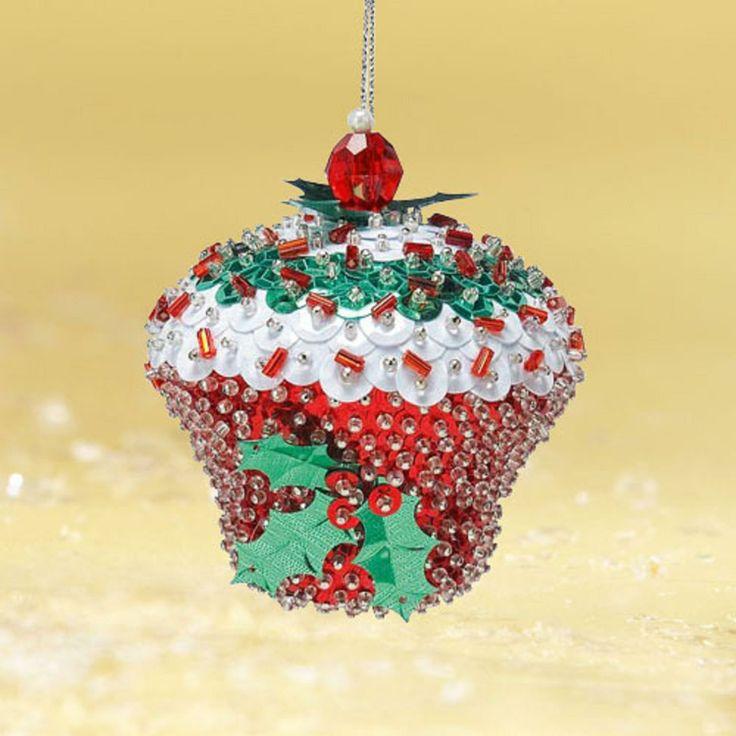Bead & sequin cupcake ornament