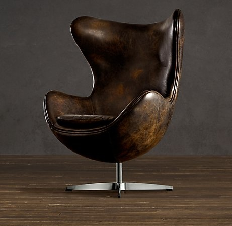 Aged Leather - Modern Lines - For years I have yearned for a vintage Eames Lounge Chair and Ottoman in Rosewood and Black, but this one may have replaced that yearning.