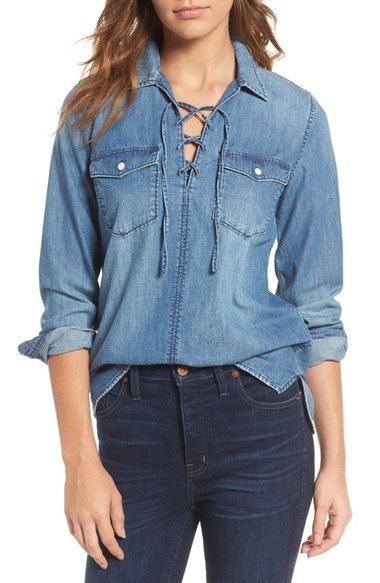 MADEWELL Lace-Up Denim Shirt. #madewell #cloth #