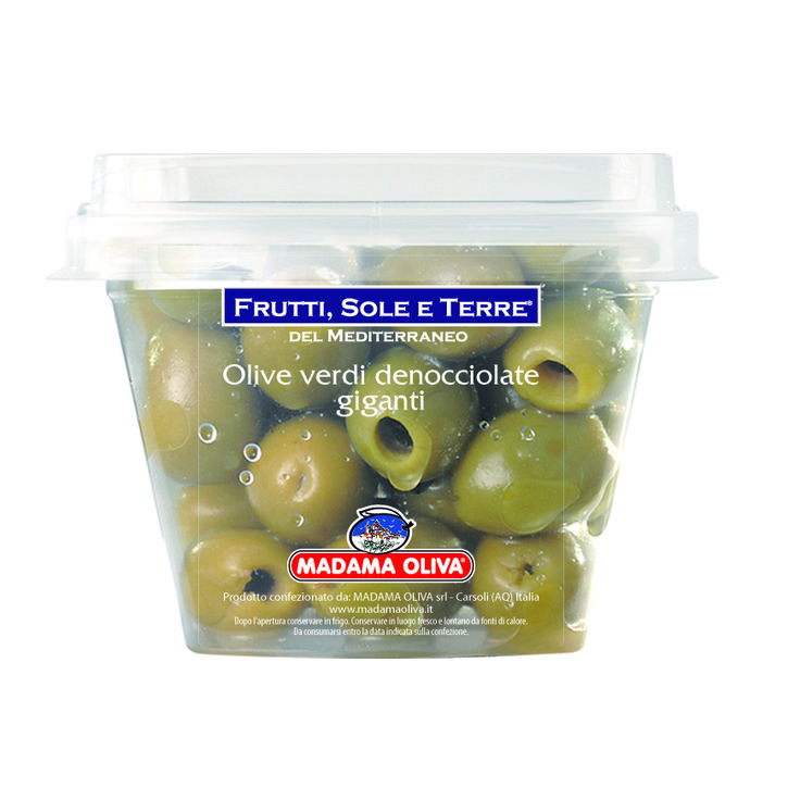 Le olive verdi denocciolate giganti appartengono alla varietà Halkidiki e sono coltivate nella Calcidica, regione a nord della Grecia. La pezzatura gigante e la polpa carnosa e croccante le rende ideali come stuzzichino, come ingredienti per antipasti e come snack.