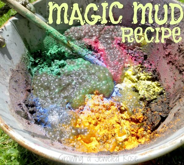 A messy play date using a magic mud recipe by Growing A Jeweled Rose. Also contains tips and tricks for messy play dates and links to additional resources for sensory play ideas.