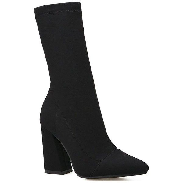 Black 35 Chunky Heel Stretch Mid-calf Boots ($22) ❤ liked on Polyvore featuring shoes, boots, chunky-heel boots, thick heel boots, midi boots, stretch boots and kohl boots