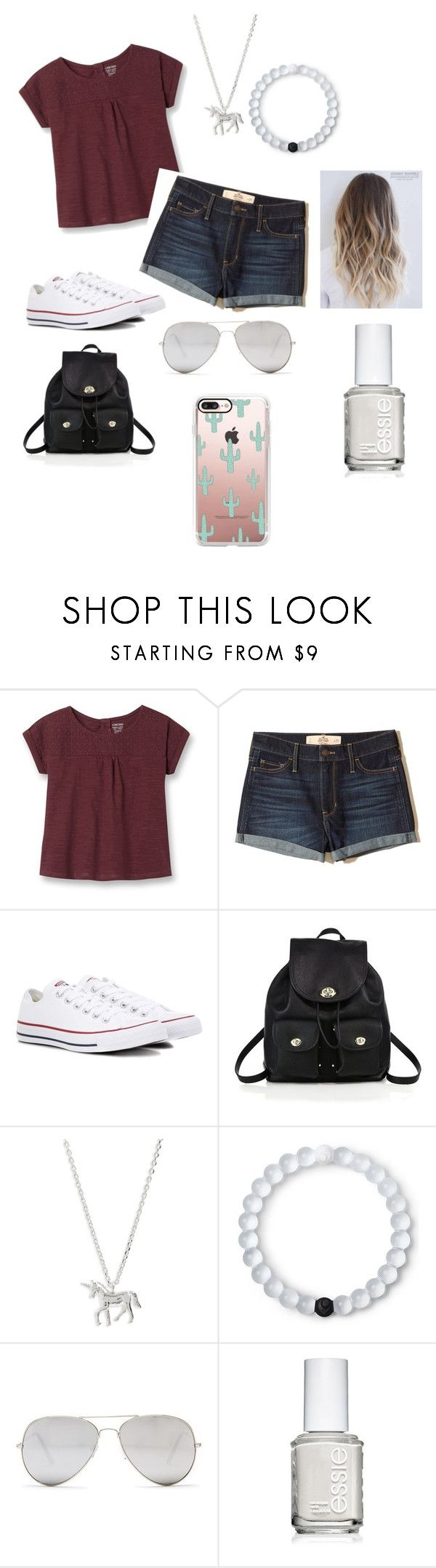 """Annie LeBlanc"" by egm72035 ❤ liked on Polyvore featuring Hollister Co., Converse, Coach, Estella Bartlett, Lokai, Sunny Rebel, Essie and Casetify"