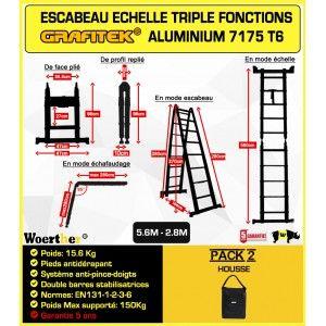 ECHELLE ESCABEAU TELESCOPIQUE WOERTHER DOUBLE BARRES STABILISATRICES, TRIPLE FONCTIONS GRAFITEK 5M60/2M80 - PACK 2 (AVEC HOUSSE)