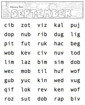 Nonsense Word Fluency Freebie (NSF) DIBELS Practice Pages