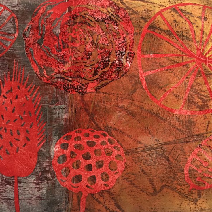 Lotus flower gelli print in red and gold. Stencils based on natural shapes