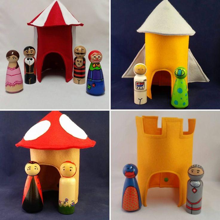 Felt Doll House (Castle, Rocket Ship, Mushroom House or Circus Tent) by bluewrenstudios on Etsy