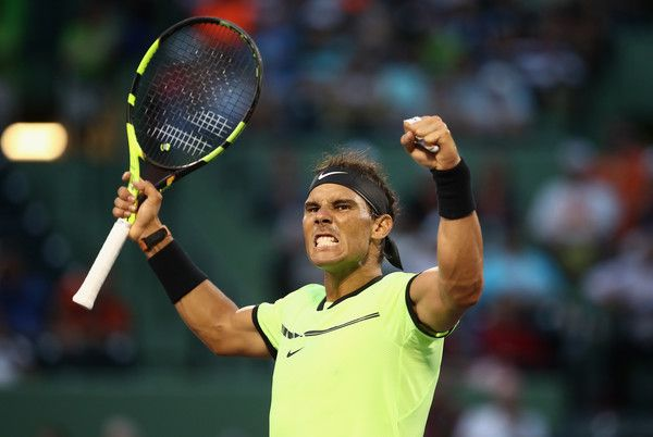 Rafael Nadal Photos Photos - Rafael Nadal of Spain celebrates defeating Philipp Kohlschreiber of Germany at Crandon Park Tennis Center on March 26, 2017 in Key Biscayne, Florida. - 2017 Miami Open - Day 7