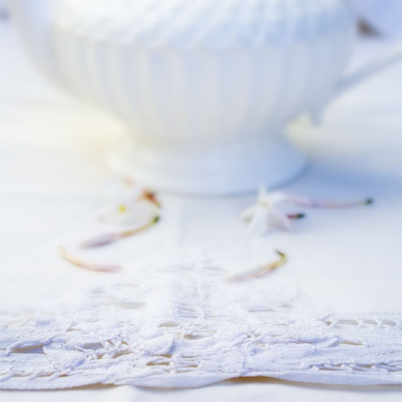 Teapot on Cotton Lace  Delicate White 8x8 Inch photo