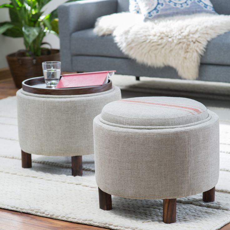 Belham Living Ingram Round Storage Ottoman With Cocktail Tray    TB 5645 HX001