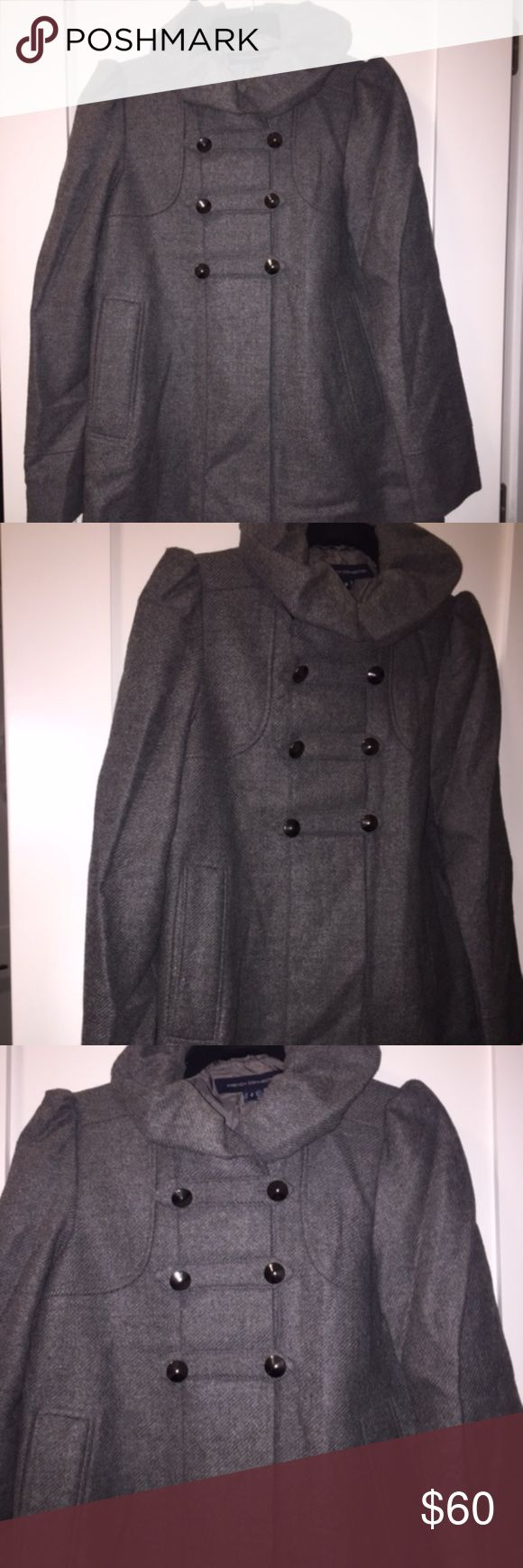 French Connection - Double Breasted Peacoat Gray double breasted peacoat with silver buttons and ruffle collar.  The lining is torn inside the jacket and one of the pockets, but exterior of coat is in perfect condition! French Connection Jackets & Coats Pea Coats