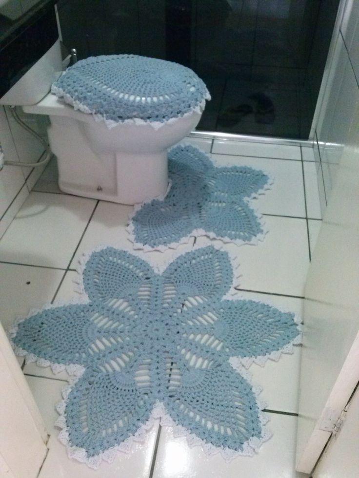 Jogo de tapete para banheiro com 3 peças, feito com barbante, em outras cores também.