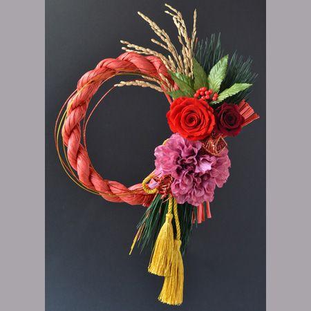 【特価】【プリザーブド】お正月リースアレンジ レッド/183-1413-8【M】:花資材 の通販なら - はなどんやアソシエ