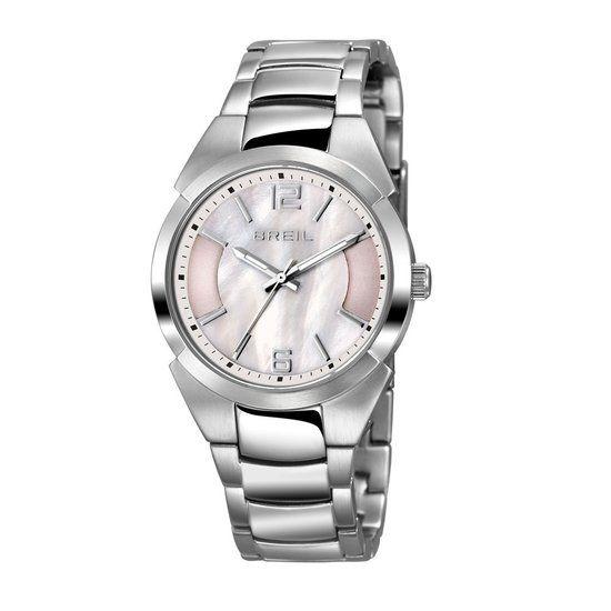 Breil dames horloge TW1398 - parelmoerkleurige wijzerplaat - zilverkleurige band en kast - 5 ATM