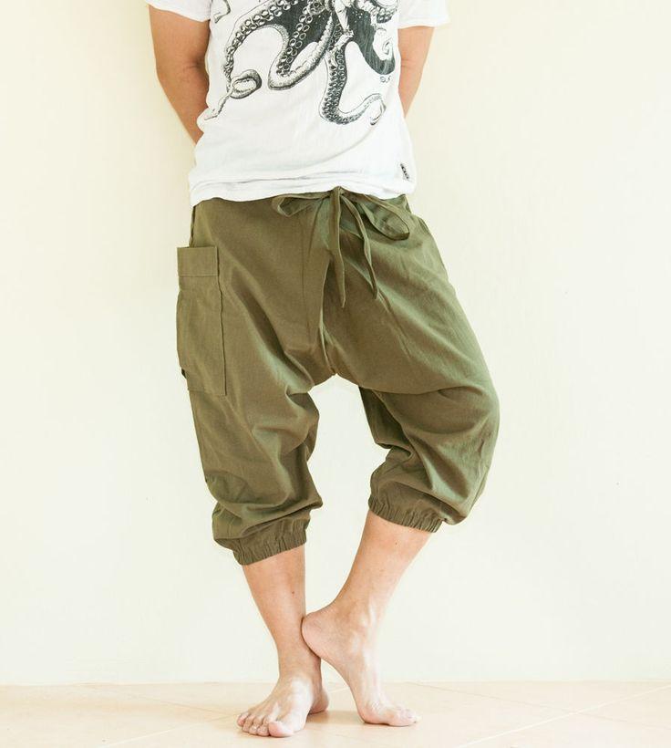 Carpenter Shorts Unisex Low Crotch Harem Capri Pants Big Pocket Military Green #Handmade #CapriPants