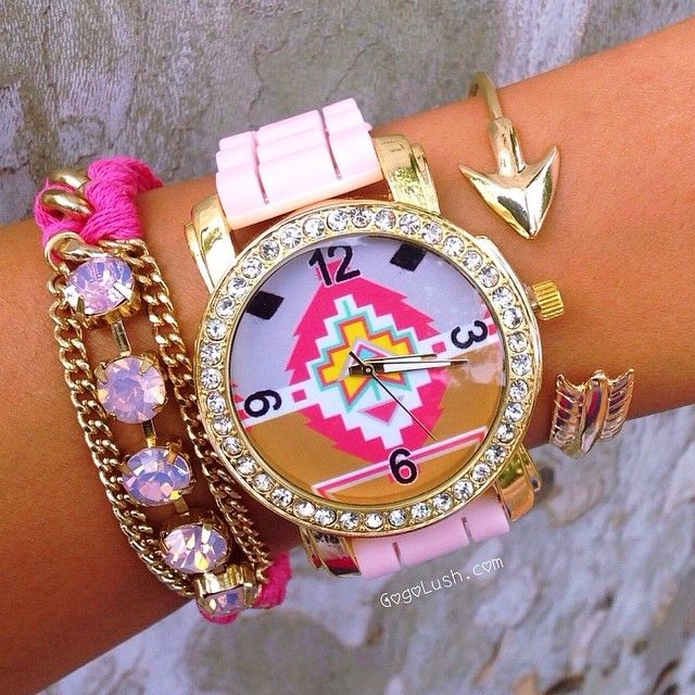 I absolutely love this pink tribal set! Order at www.gogolush.com... The watch is also sold separate from the Stack! #Padgram