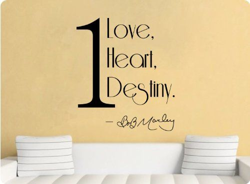 One Love, One Heart, One Destiny Bob Marley Wall Decal Sticker Art Mural  Home Part 78