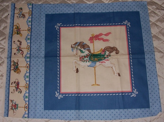 Clearance Fabric Panel Vintage Carousel Horse Quilt Cotton