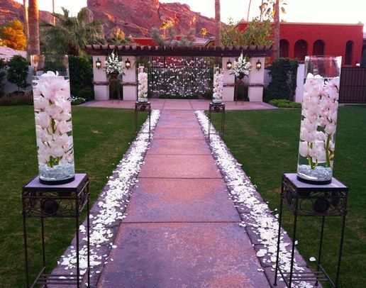 Private Wedding Ceremony Of White Orchids In Paradise Valley Az Flowers By Cactus Flower