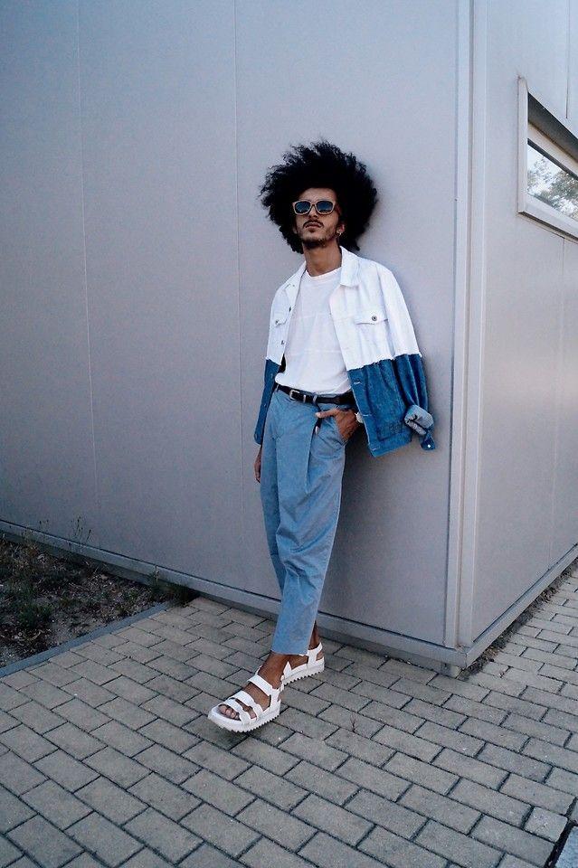 Marco Moura - Asos Sandals, Zara Pants, H&M T Shirt, Asos Denim Jacket, Zara Belt, Asos Watch, Woodzee Sunglasses - Blues and whites | LOOKBOOK