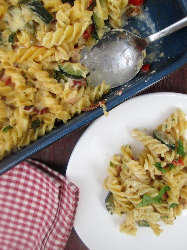 Fusilli Pasta Bake with Zucchini & Bacon http://www.juliascuisine.com/home/fusilli-pasta-bake-with-bacon-and-zucchini