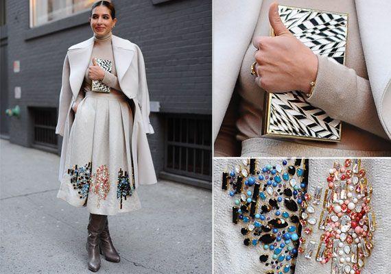 DETALJER: Prinsesse Deena Aljuhani Abdulaziz velger ofte en klassisk silhuett. Her på moteuken i New York i jakke fra Alaia og skjørt fra Cr...