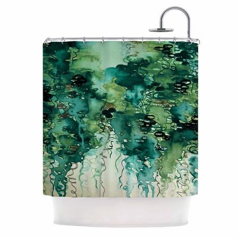 "Ebi Emporium ""Beauty In The Rain, Green"" Emerald Green Shower Curtain - KESS…"