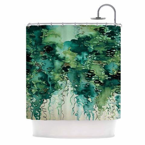 "Ebi Emporium ""Beauty In The Rain, Green"" Emerald Green Shower Curtain - KESS…"
