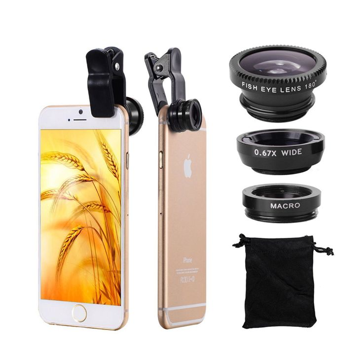 Fish eye universal 3 in 1 mobile phone chip lenses fisheye wide angle macro camera for 7 iphone 6 6s plus 5s 5 HTC samsung S6 S5 //Price: $US $1.99 & FREE Shipping //     #apple
