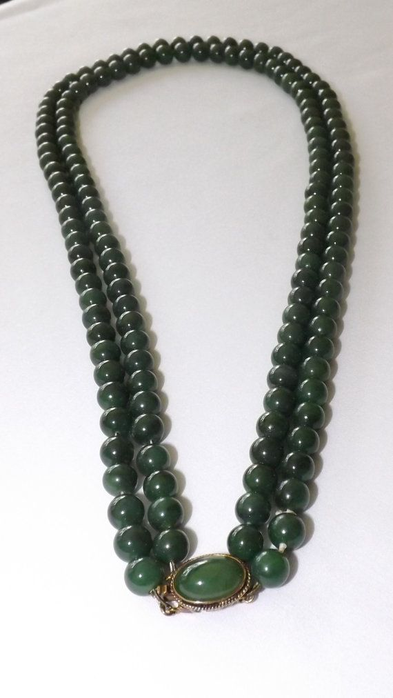 Vintage Jade Necklace, Double Strand Nephrite Jade Bead Necklace with 14K Gold Clasp with Jade Cabochon