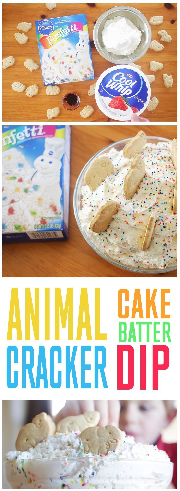 "Animal Cracker (Cookie) Cake Batter Dip... great for birthday parties. Somewhat ""healthy"" and fun to eat!"