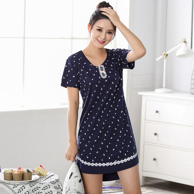 2017 New Brand Female Nightgown Korean Style Cute Dot 100% Cotton Sleepwear Pijama Women Breathable Navy Blue Sleepshirts Pyjama