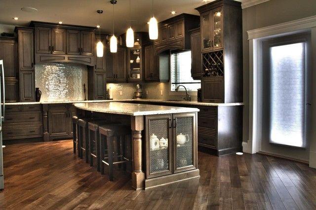 Espresso Cabinets With Slate Appliances Google Search