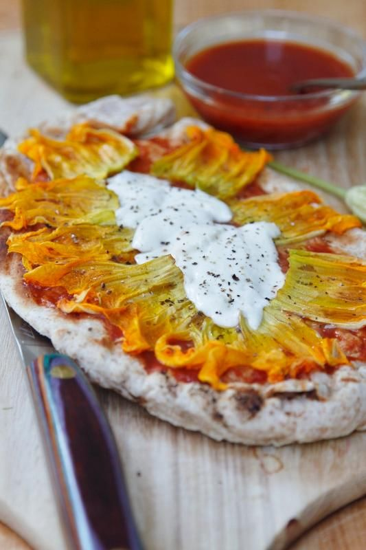 Grilled Squash Blossom Pizza