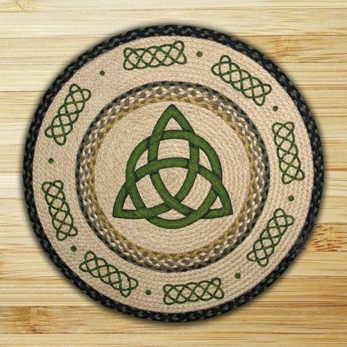 "Irish Knot Braided Rug 27"" Round 100 Natural Jute Hand Stenciled Rug - For the new kitchen"