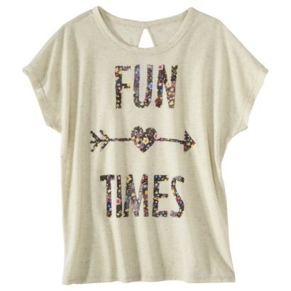 Target: Juniors Fun Times Keyhole Back Graphic Tee - Cream (Online Only) 'this is cute'