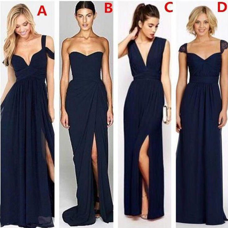 Most Popular Mismatched Sexy Chiffon Navy Blue Formal Cheap Bridesmaid Dresses
