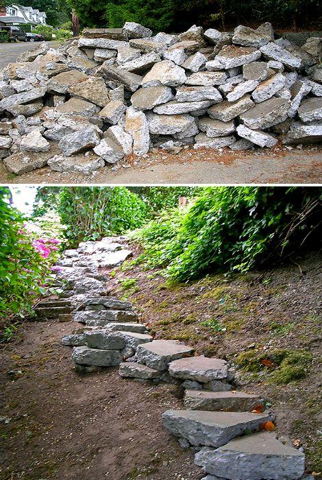 Ступеньки из бетонных камней.
