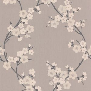 Superfresco Cherry Blossom Wallpaper - Taupe and Charcoal