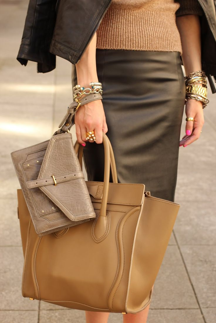SIGH leather pencil skirt, camel cashmere sweater, camel Celine bag, clutch bag - perfect neutrals