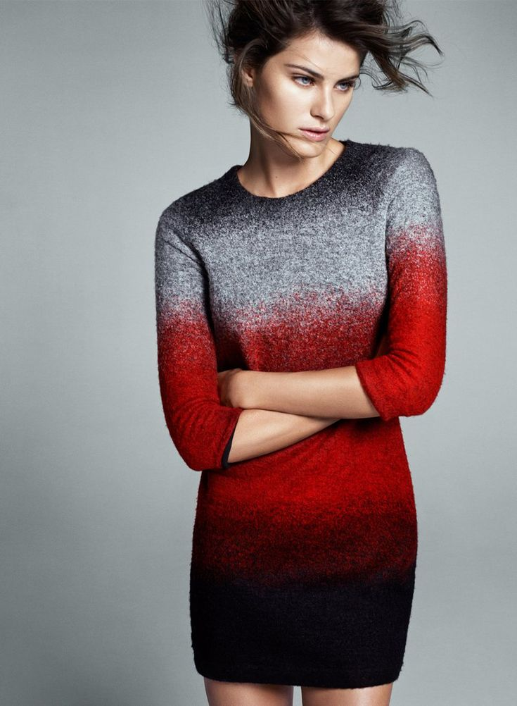 Beautiful transition sweater: Isabeli Fontana, Woman Fashion, Sweaters Dresses, Color, Fashion Outfits, Mango, Winter Collection, Grey Dresses, Red Black