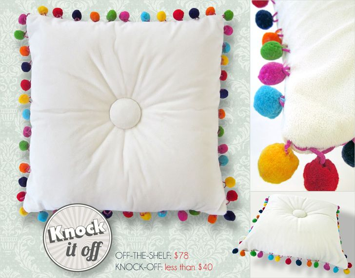Imitaciones Almohada de prendas de Fairfield: copetudo Multi-Color Pom Pillow | Sew4Home